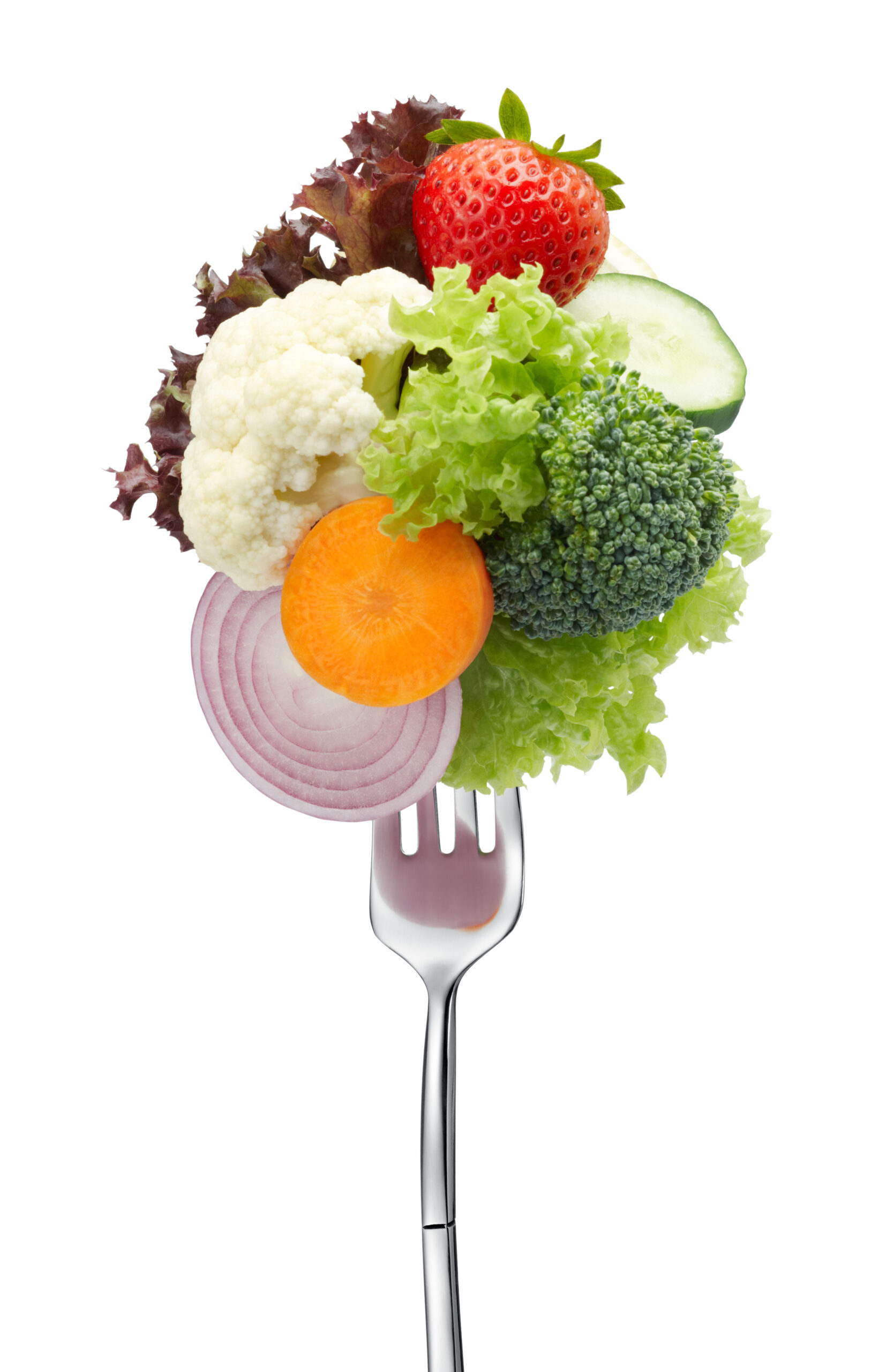 Variety,Of,Vegetables,On,Fork,Isolated,On,White